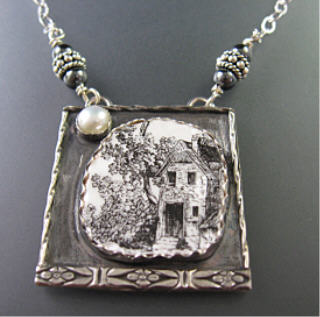 Vintage broken pottery house sterling silver necklace WS